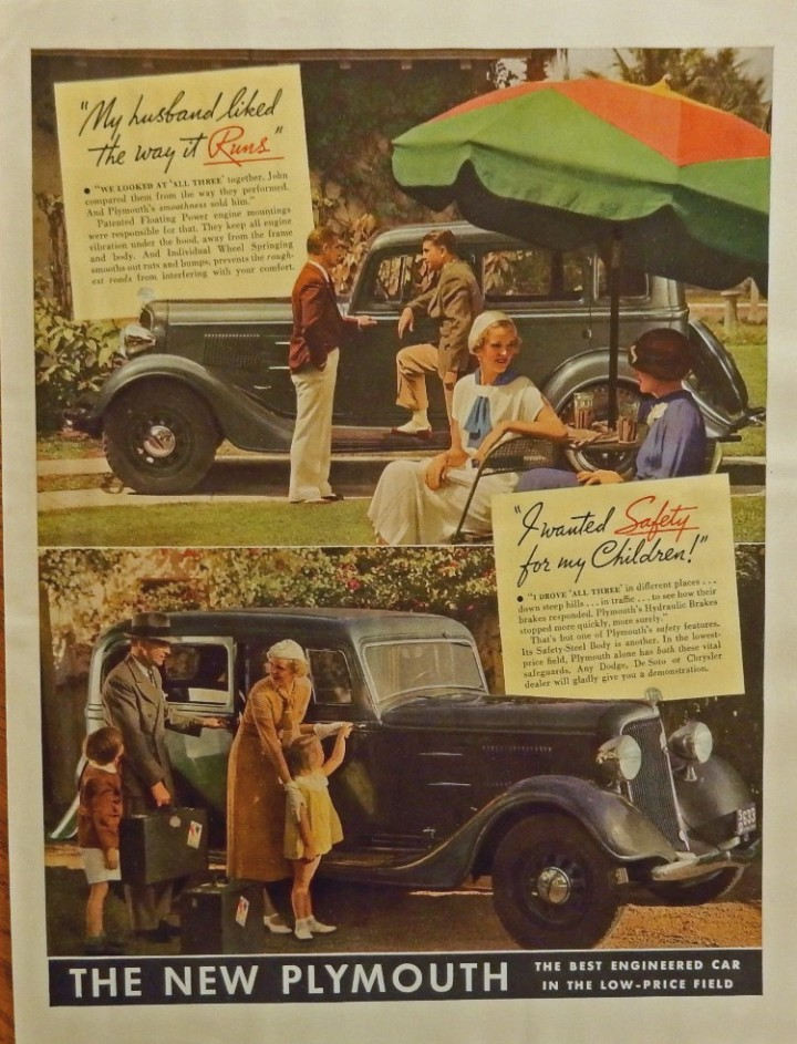 eBlueJay: 1934 Plymouth  print ad  30's Color Illustration (family