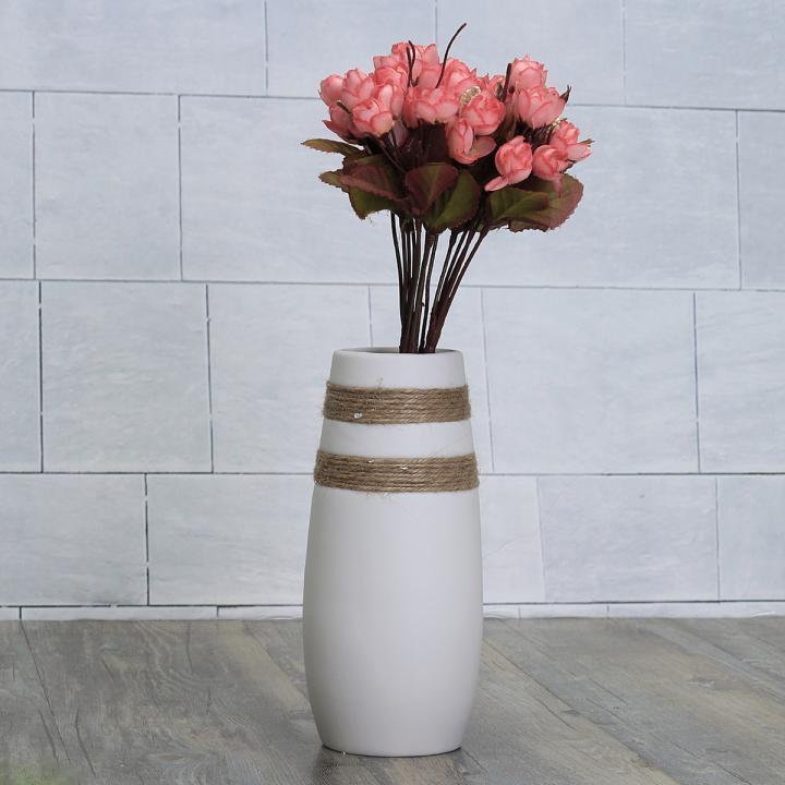 Ebluejay White Creative Modern Ceramic Flower Vase Handmade Flowers