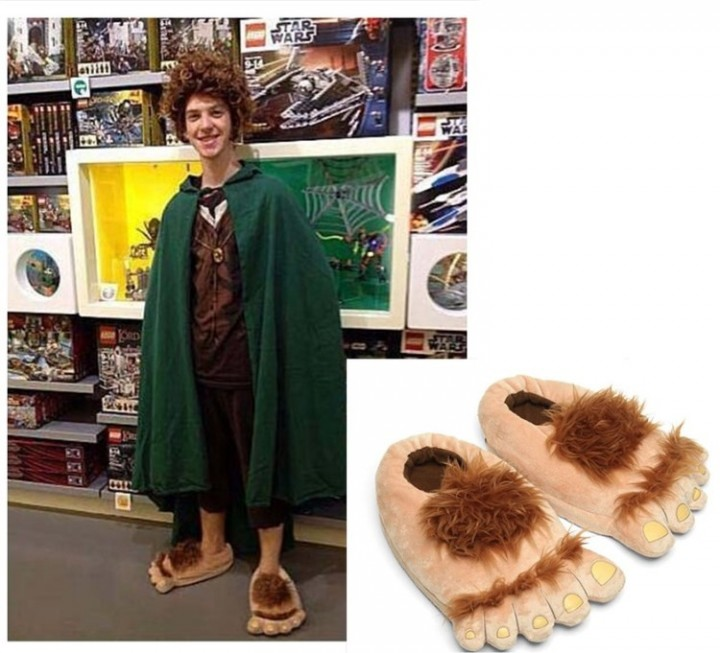 38116d324b389 MEN WOMEN Slippers Funny Hairy Hobbit Feet Big feet Christmas Gifts  Costumes Accessories 35-41