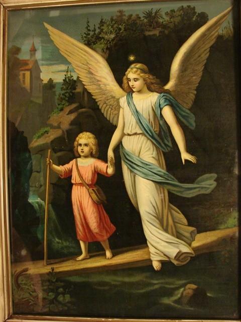 Ebluejay Antique Vintage Framed Guardian Angel Schutzengel Take