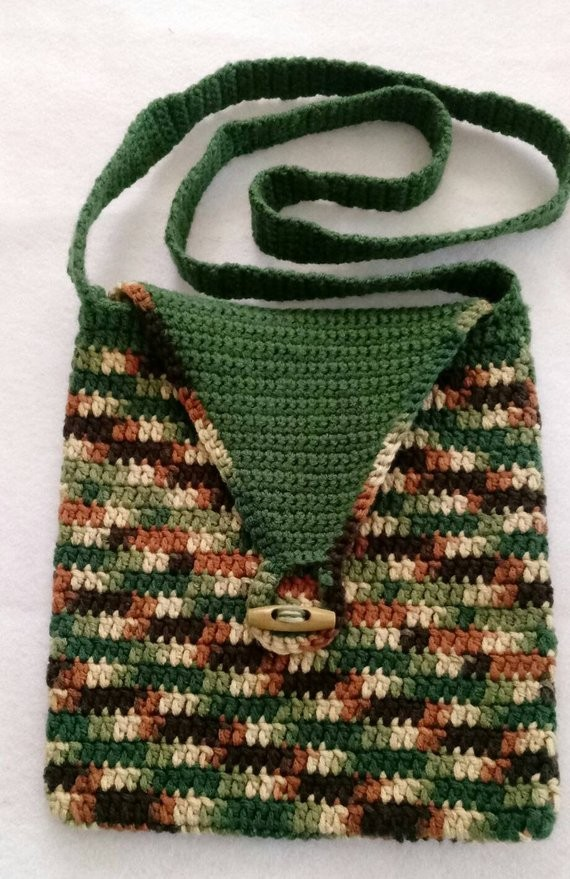 Ebluejay Camo Crochet Cross Body Bag