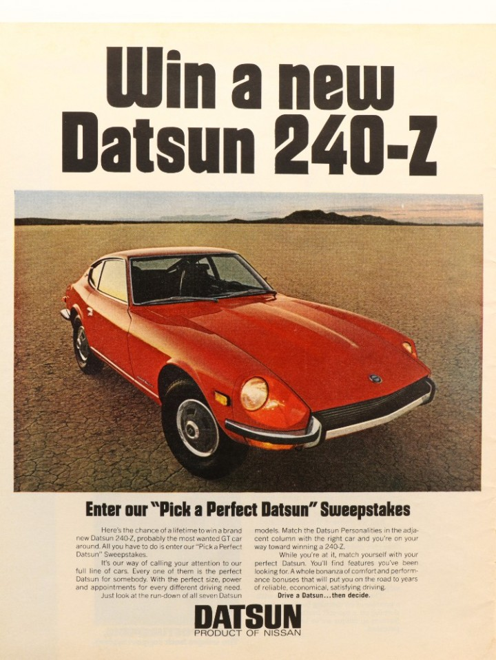 eBlueJay: 1971 red Datsun 240-Z sweepstakes vintage print ad  Car