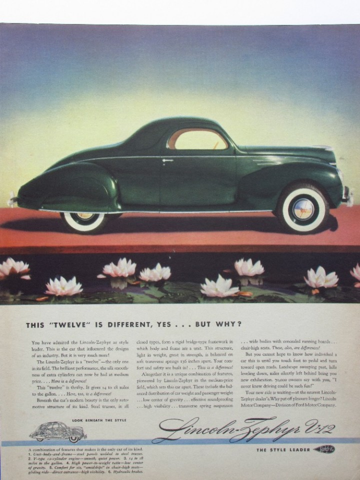 Ebluejay 1939 Lincoln Zephyr V12 Green 2 Door Coupe Illustrated