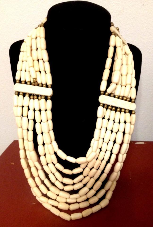 Ebluejay Multi Strand Ethnic Necklace Tribal Bovine Bone And Brass Bib 1960 S Hand Carved Bone Beads Boho