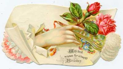 eBlueJay Roses and Fan in Hand Victorian Birthday Greeting Card – Victorian Birthday Cards