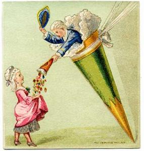 ebluejay colonial couple candy cone victorian trade card