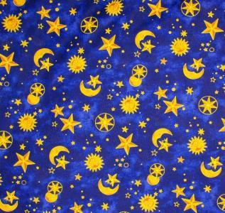 Ebluejay celestial spirit sun moon stars quilt fabric for Sun moon stars fabric