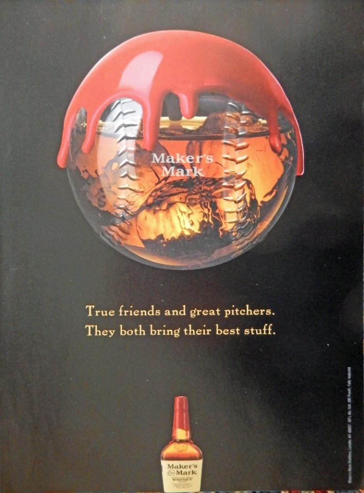 Makers Mark Whiskey Print Ad Full Page Color Illustration True Friends And Great Pitchers