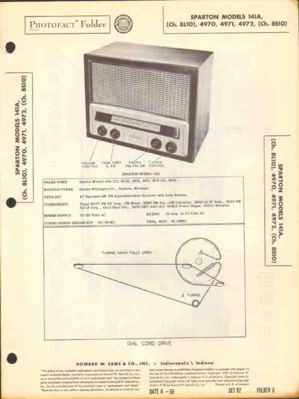 eBlueJay: Sparton Model 141a 4970 4971 4972 Am Fm Radio Sams
