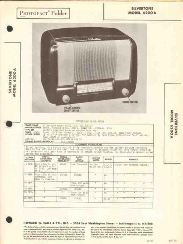 BELMONT 6D120 RADIO PHOTOFACT