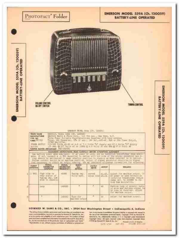 eBlueJay: Emerson Model 559a 5-Tube Portable Am Radio Sams Photofact