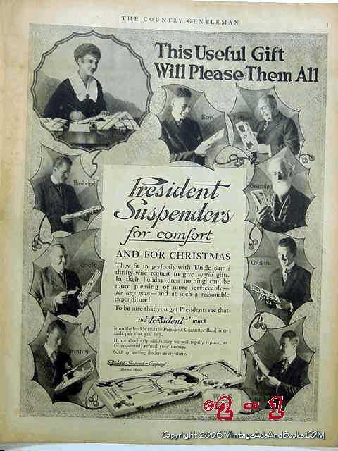 Ebluejay President Suspenders Company 1918 Mens Clothing Vintage Ad
