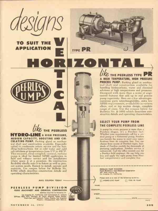 eBlueJay: Food Machinery Chemical Corp 1953 Designs Peerless