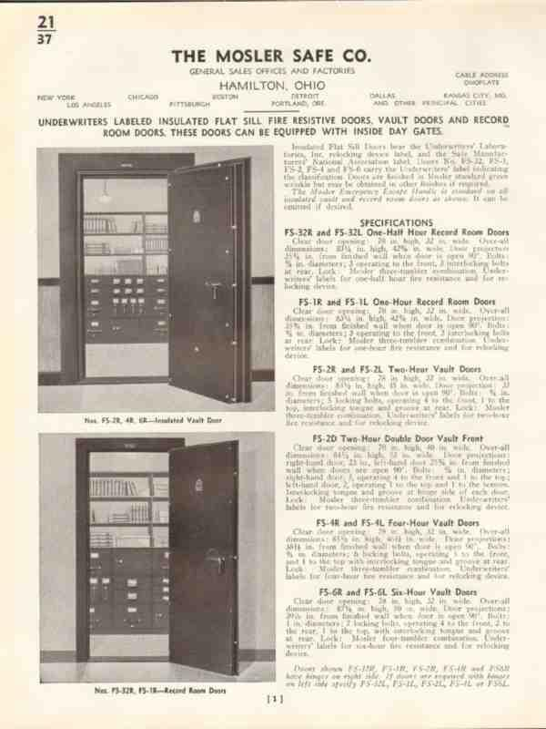 eBlueJay: Mosler Safe Company 1938 Insulated Vault Bank Doors