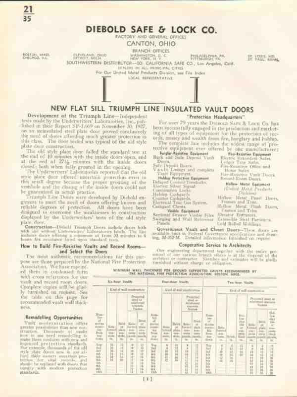 eBlueJay: Diebold Safe Lock Company 1938 Insulated Vault