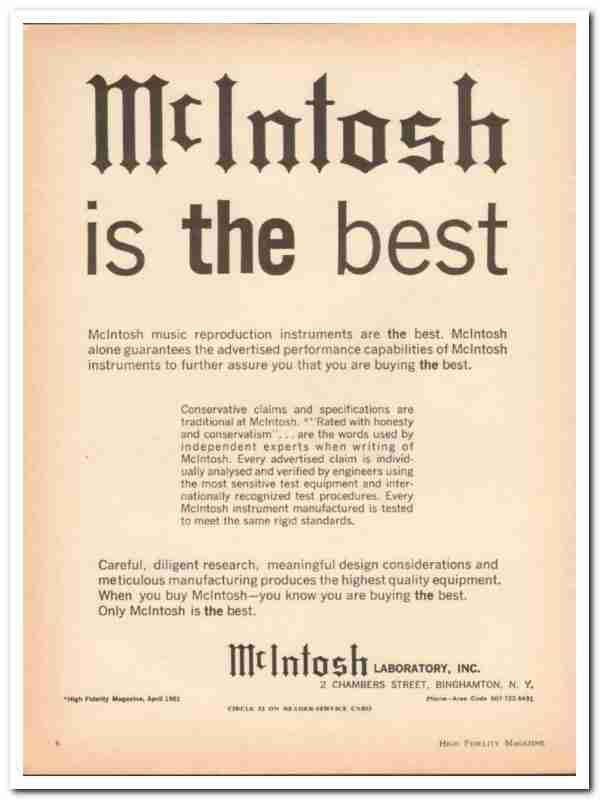 eBlueJay: Mcintosh Laboratory Inc 1961 Best Amplifier
