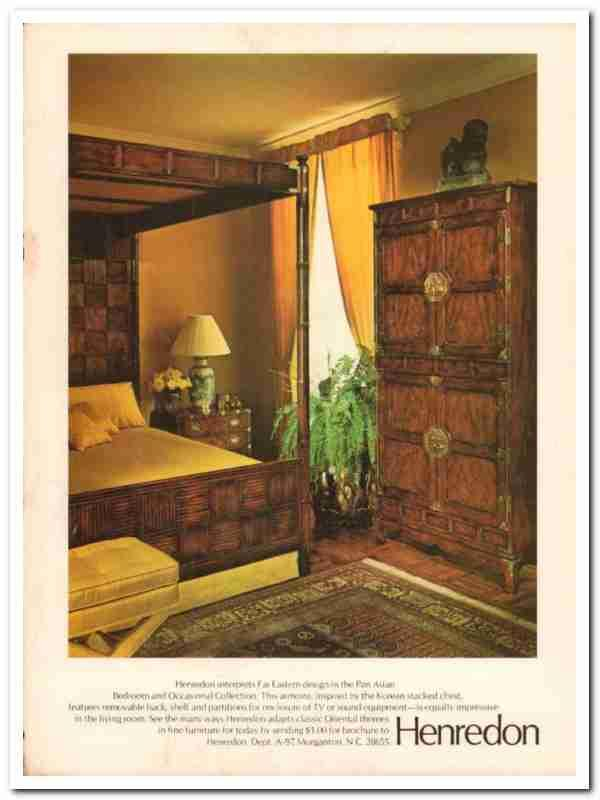 Henredon Furniture Industries 1977 Pan Asian Bedroom Vintage Ad EBlueJay .
