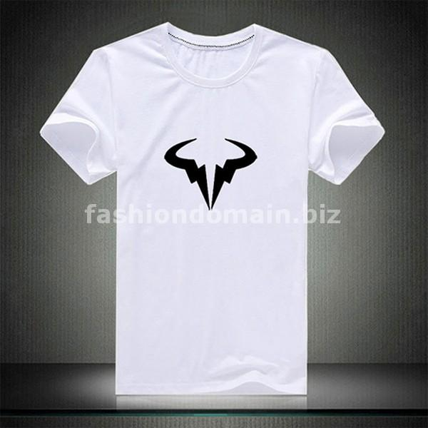 Ebluejay Buy Spain Tennis Player Rafael Nadal Bull Logo Print T Shirt White Color Symbol Printed Mens T Shirt