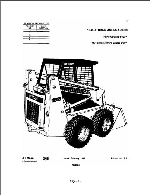 c7359c2 ebluejay case 1845 & 1845s skid steer loader parts manual on a cd