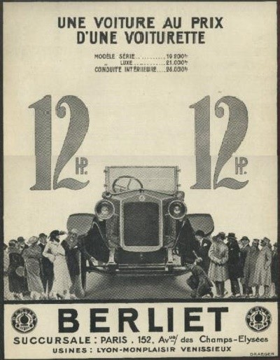 ebluejay 1922 berliet 12 hp torpedo une voiture au prix. Black Bedroom Furniture Sets. Home Design Ideas